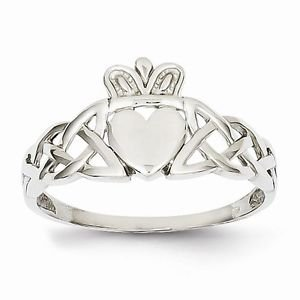 14K WHITE GOLD MEN'S CLADDAGH/CELTIC DESIGN RING - 2.3 GRAMS  SIZE 9.5