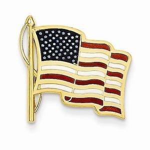 14K YELLOW GOLD MENS ENAMELED AMERICAN FLAG TIE TAC / PIN - 2 GRAMS