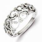 STERLING SILVER  DIAMOND  SWIRL  RING - SIZE 6
