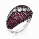 BEAUTIFUL BRILLIANT EMBERS RED/PINK  & WHITE CZ RING WITH 289 STONES - SIZE 8