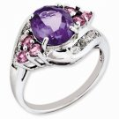 STERLING SILVER GENUINE 2.2CT AMETHYST RING WITH PINK TOURMALINE & WHITE TOPAZ