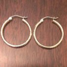 14K YELLOW GOLD  DIAMOND-CUT   HOOPS/ HOLLOW HOOP EARRINGS  2x25mm 1.1 GM