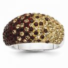 STERLING SILVER FSU SEMINOLES  GARNET & GOLD CRYSTALS SPIRIT RING - SIZE 7