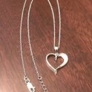"""BRILLIANT EMBERS STERLING SILVER & CZ HEART CHARM PENDANT & NECKLACE   18-20"""""""