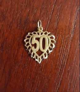"14K YELLOW GOLD SMALL SATIN ""50""  HEART CHARM  PENDANT - ANNIVERSARY / BIRTHDAY"