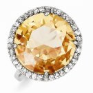 STERLING SILVER ROUND CHECKERBOARD-CUT CHAMPAGNE COLOR HALO CZ RING - SIZE 8