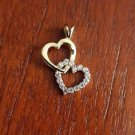10K GOLD TWO-TONE CZ DOUBLE HEART CHARM / PENDANT -  1 GM