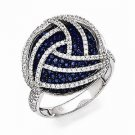 STYLISH STERLING SILVER BLUE & CLEAR CZ ROUND CIRCLE CLUSTER SWIRL RING - SIZE 7