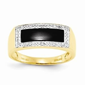 14K YELLOW GOLD ONYX & DIAMOND RECTANGLE TOP MEN'S RING - 4.3 GRAMS  SIZE 10