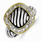 ANTIQUED FINISH STERLING SILVER & VERMEIL STRIPED SQUARE-TOP CZ RING - SIZE 8