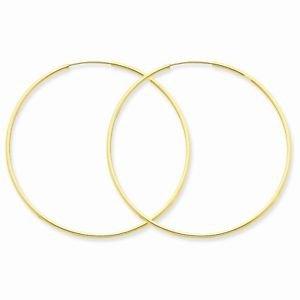 "14K YELLOW GOLD POLISHED ENDLESS HOOPS/ HOLLOW HOOP EARRINGS  1.25x45mm  1.8"""