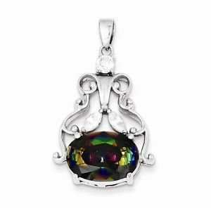 STERLING SILVER MYSTIC AND CLEAR CZ  PENDANT CHARM- 6.3 GRAMS