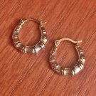 NEW 10K TWO TONE GOLD TINY TEXTURED  HOOP EARRINGS  HOLLOW HOOPS (2x14mm)