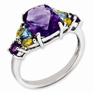 STERLING SILVER 2.5CT AMETHYST, BLUE TOPAZ & CITRINE RING - SIZE 7