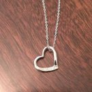 STERLING SILVER DIAMOND HEART CHARM / PENDANT & NECKLACE - 18""