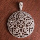LARGE STERLING SILVER ROUND FILIGREE PAVE CZ CIRCLE PENDANT CHARM - 8.9 GRAMS