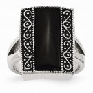 CHISEL BRAND ANTIQUED STAINLESS STEEL RECTANGULAR NATURAL ONYX RING -  SIZE 8