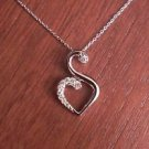 """STERLING SILVER & CZ JOURNEY OF FRIENDSHIP HEART CHARM PENDANT & NECKLACE   18"""""""