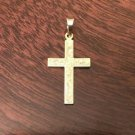 14K YELLOW GOLD FLORAL CROSS  CHARM / PENDANT  RELIGIOUS -  .6  GRAMS
