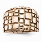 VERY UNIQUE MODERN STAINLESS STEEL ROSE PLATED TEXTURED SQUARE RING - SIZE 6
