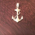 14K YELLOW GOLD ROPE & ANCHOR CHARM / PENDANT   (0.7 GRAMS - 0.9 INCHES)