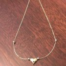 14K GOLD TWO-TONE PUFFED HEART WITH BEADS ANKLET -  10 INCHES   1.4 GRAMS