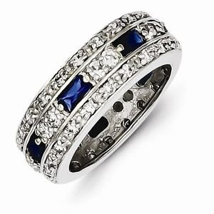SOLID STERLING SILVER DARK BLUE AND CLEAR CZ BAND /  RING- 7mm WIDTH - SIZE 8