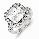 STERLING SILVER 12x12mm SQUARE RADIANT-CUT HALO SETTING CZ RING  - SIZE 6