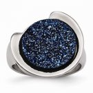 CONTEMPORARY / MODERN STAINLESS STEEL POLISHED WITH BLUE  DRUZY RING  -  SIZE 6