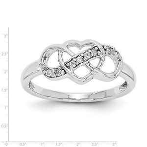 STERLING SILVER POLISHED PRONG SET DIAMOND HEART AND INFINTY RING - SIZE 7