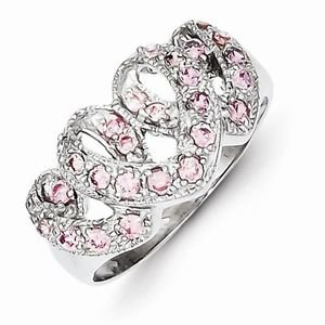 STERLING SILVER TRIPLE HEART / 3 HEARTS INTERTWINED PINK CZ RING  -SIZE 8