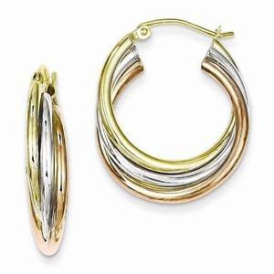 SMALL STERLING SILVER TRI COLOR GOLD PLATED HOOP EARRINGS - 6mm - 4.1 GRAMS