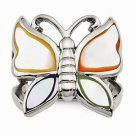 STAINLESS STEEL POLISHED AND ENAMELED SHELL BUTTERFLY RING - SIZE 8