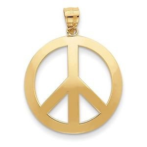 14K YELLOW GOLD POLISHED  PEACE SIGN PENDANT- 2.2 GRAMS