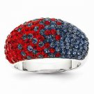 STERLING SILVER OLE MISS REBELS  RED & BLUE CRYSTALS SPIRIT RING - SIZE 8