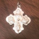 STERLING SILVER 4 WAY MIRACULOUS MEDAL CROSS  CHARM / PENDANT- 4.8 GRAMS