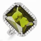 STERLING SILVER POLISHED EMERALD CUT GREEN RECTANGULAR CZ RING - SIZE 8