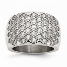 MODERN STYLE STAINLESS STEEL CONTEMPORARY WEAVE DESIGN CZ RING -  SIZE 7