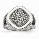 CHISEL BRAND STAINLESS STEEL POLISHED SQUARE WITH CZ  RING -  SIZE 8