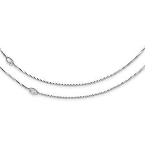 STERLING SILVER POLISHED & TEXTURED 2 CHAIN BEAD NECKLACE - MADE IN ITALY- 18""