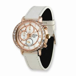 MOOG ROSE-PLATED CHRONOGRAPH WATCH WITH WHITE LEATHER BAND & SWAROV. CRYSTALS