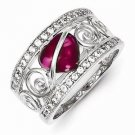 STERLING SILVER RED HEART CZ AND CLEAR CZ SWIRL RING  - SIZE 6