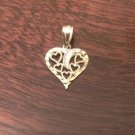 10K GOLD SMALL TWO-TONE HEARTS & MOON PENDANT CHARM  PENDANT - 0.4 GRAMS