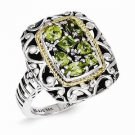 ANTIQUED STERLING SILVER & 14K GOLD ACCENT OPEN SCROLL DESIGN  PERIDOT RING