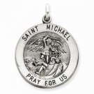 ANTIQUED STERLING SILVER SAINT MICHAEL MEDAL CHARM PENDANT-5.1 GRAMS