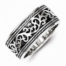 ANTIQUED FINISH SOLID STERLING SILVER SCROLL DESIGN BAND  - SIZE 11