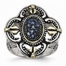 ANTIQUED STAINLESS STEEL BLUE GLASS W YELLOW PLATING VINTAGE STYLE RING - SIZE 9