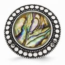 CHISEL BRAND ANTIQUED STAINLESS STEEL SYNTHETIC ABALONE  RING -  SIZE 6