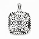 ANTIQUED STERLING SILVER SQUARE FLORAL CHARM / PENDANT -  8.7 GRAMS
