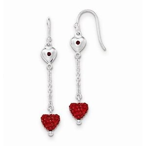 STERLING SILVER RED CZ HEART DANGLE / DROP EARRINGS